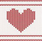 Knitted vector pattern with red heart Stock Photo - Royalty-Free, Artist: BooblGum                      , Code: 400-05747887