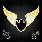 Vintage golden wings shield. Vector illustration eps10 Stock Photo - Royalty-Free, Artist: BooblGum                      , Code: 400-05747890