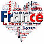 Written France and French cities with heart-shaped, French flag colors Stock Photo - Royalty-Free, Artist: catalby                       , Code: 400-05748469