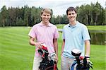 Two young men on the golf course