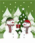 vector pair of snowmen and gift, Adobe Illustrator 8 format Stock Photo - Royalty-Free, Artist: beta757                       , Code: 400-05748775