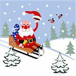Santa Claus in sleigh rides through woods Stock Photo - Royalty-Free, Artist: Dyk73                         , Code: 400-05750161