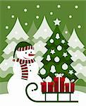 vector snowman and gifts on sledge, Adobe Illustrator 8 format Stock Photo - Royalty-Free, Artist: beta757                       , Code: 400-05752016
