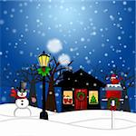 House with Lamp Post Snowman and Birdhouse Christmas Decoration in Snowing Winter Scene Landscape Illustration Stock Photo - Royalty-Free, Artist: jpldesigns                    , Code: 400-05752077