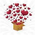 Valentine's day. box with fly hearts. vector illustration eps10 Stock Photo - Royalty-Free, Artist: BooblGum                      , Code: 400-05752139