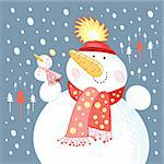 large and small snowmen on a blue background with snow and Christmas trees Stock Photo - Royalty-Free, Artist: tanor                         , Code: 400-05752290