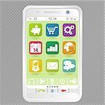 Mobile White Smartphone with icons, element for design, vector illustration Stock Photo - Royalty-Free, Artist: TAlex                         , Code: 400-05752299
