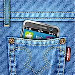 Jeans Texture with Mobile Phone, vector illustration Stock Photo - Royalty-Free, Artist: TAlex                         , Code: 400-05752311