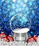 Water Snow Globes Blank Snowflakes and Christmas Tree Ornaments Illustration on Blue Background Stock Photo - Royalty-Free, Artist: jpldesigns                    , Code: 400-05752485