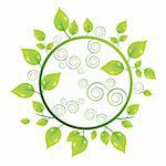 Ecology Green plant concept with circle and leaves. Vector illustration eps 10
