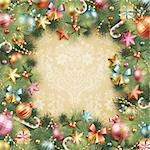 Christmas vintage background with baubles and christmas tree. Vector frame with green fir. Stock Photo - Royalty-Free, Artist: avian                         , Code: 400-05752759