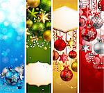 Christmas banners with baubles and place for text. Vector illustration. Stock Photo - Royalty-Free, Artist: avian                         , Code: 400-05752761