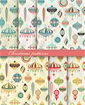 Christmas seamless retro patterns. Vector illustration. Stock Photo - Royalty-Free, Artist: avian                         , Code: 400-05752763