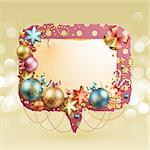 Christmas vintage bubble with baubles and place for text. Vector illustration. Stock Photo - Royalty-Free, Artist: avian                         , Code: 400-05752769