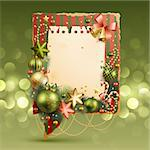 Christmas vintage bubble with baubles and place for text. Vector illustration. Stock Photo - Royalty-Free, Artist: avian                         , Code: 400-05752770