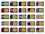 2D SIM cards represented as flags of different countries