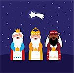 Caspar, Melchior and Balthazar follow the star of Bethlehem. Vector Illustration Stock Photo - Royalty-Free, Artist: lordalea                      , Code: 400-05753003