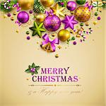 Beautiful christmas background with place for text. Vector illustration. Stock Photo - Royalty-Free, Artist: avian                         , Code: 400-05753119
