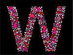 Letter W. Valentine alphabet set with heart. Vector font. Stock Photo - Royalty-Free, Artist: svetap                        , Code: 400-05753288