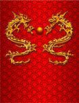 Pair of Chinese New Year Metallic Dragons on Scales Pattern Red Background Stock Photo - Royalty-Free, Artist: jpldesigns                    , Code: 400-05753908