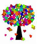 Colorful Valentines Day Heart Shape Leaves on Trees Illustration