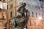 Horizontal view of statue Peter the Great carpenter at night, St. Petersburg, Russia Stock Photo - Royalty-Free, Artist: sateda                        , Code: 400-05754383