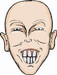 Caricature of bald Caucasian man with big teeth Stock Photo - Royalty-Free, Artist: theblackrhino                 , Code: 400-05754391