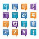 Electricity,  power and energy icons - vector icon set Stock Photo - Royalty-Free, Artist: stoyanh                       , Code: 400-05754481