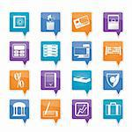 bank, business, finance and office icons vector icon set Stock Photo - Royalty-Free, Artist: stoyanh                       , Code: 400-05754871