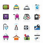 Hotel and motel room facilities icons - vector icon set Stock Photo - Royalty-Free, Artist: stoyanh                       , Code: 400-05755232