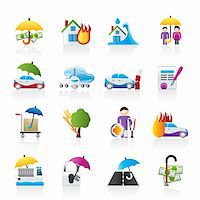 flooded homes - Disaster and risk icons - vector icon set Stock Photo - Royalty-Freenull, Code: 400-05755250