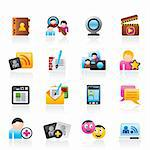 social networking and communication icons - vector icon set Stock Photo - Royalty-Free, Artist: stoyanh                       , Code: 400-05755279