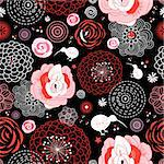 Seamless red floral pattern on a black background Stock Photo - Royalty-Free, Artist: tanor                         , Code: 400-05755344