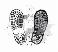 black vector trail foot on grunge background. Stock Photo - Royalty-Freenull, Code: 400-05755538