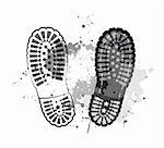 black vector trail foot on grunge background. Stock Photo - Royalty-Free, Artist: sermax55                      , Code: 400-05755538
