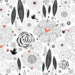 Seamless floral pattern with birds on a white background Stock Photo - Royalty-Free, Artist: tanor                         , Code: 400-05755539