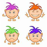 Set of smilies girls with colored hair, symbolising various human emotions. Vector Stock Photo - Royalty-Freenull, Code: 400-05755582