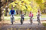 Family on bikes in the park