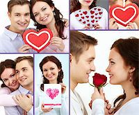Collage of happy and amorous people on St. Valentine Day Stock Photo - Royalty-Freenull, Code: 400-05755994