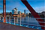Victoria Harbour Building Viewed from Detroit Bridge, Salford Quays, Salford, Greater Manchester, England Stock Photo - Premium Rights-Managed, Artist: Jason Friend, Code: 700-05756332