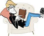 Man reading book on armchair Stock Photo - Premium Royalty-Freenull, Code: 6106-05759191