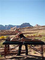 USA, Utah, Lake Powell, Woman receiving massage Stock Photo - Premium Royalty-Freenull, Code: 640-05761155