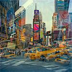 USA, New York State, New York City, Manhattan, Times Square, traffic and buildings reflecting in glass Stock Photo - Premium Royalty-Free, Artist: Cultura RM, Code: 640-05761388