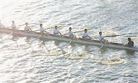 sport rowing teamwork - High angle view of men in canoe Stock Photo - Premium Royalty-Freenull, Code: 618-05761580