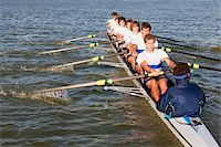 sport rowing teamwork - Medium group of people oaring canoe Stock Photo - Premium Royalty-Freenull, Code: 618-05761614