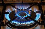 Lit blue double gas stove burner, close up Stock Photo - Premium Royalty-Free, Artist: Ron Fehling, Code: 618-05762012