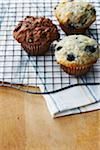 Freshly Baked Blueberry Muffins and Chocolate Muffin on Cooling Rack Stock Photo - Premium Royalty-Free, Artist: John Cullen, Code: 600-05762139