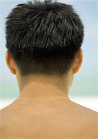 shirtless men - Man's head and shoulders, rear view Stock Photo - Premium Royalty-Freenull, Code: 695-05763650