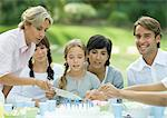 Outdoor birthday party, mature woman cutting birthday cake Stock Photo - Premium Royalty-Free, Artist: Blend Images, Code: 695-05764443