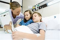 Boy in hospital bed, reading book with mother and sister Stock Photo - Premium Royalty-Freenull, Code: 695-05765969